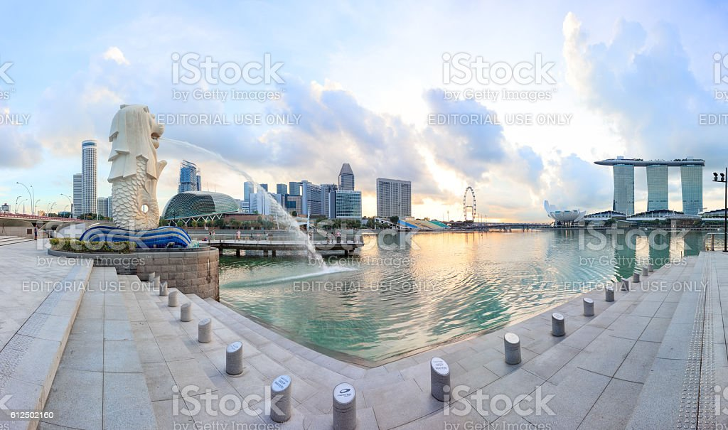 morning view of central Singapore stock photo