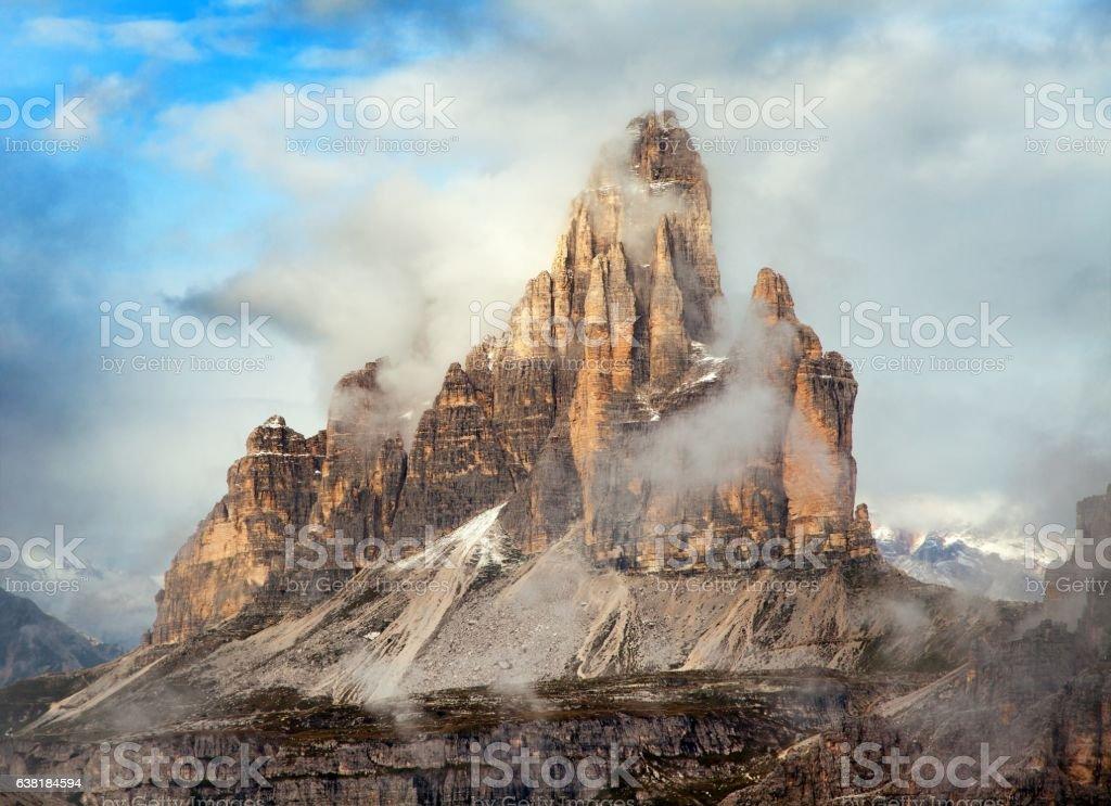 Morning view of Drei Zinnen or Tre Cime di Lavaredo stock photo