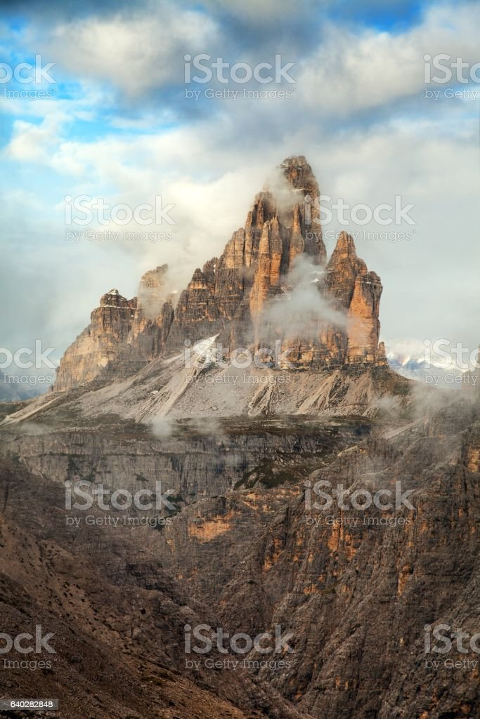 Morning view of Drei Zinnen or Tre Cime di Lavaredo stock photo