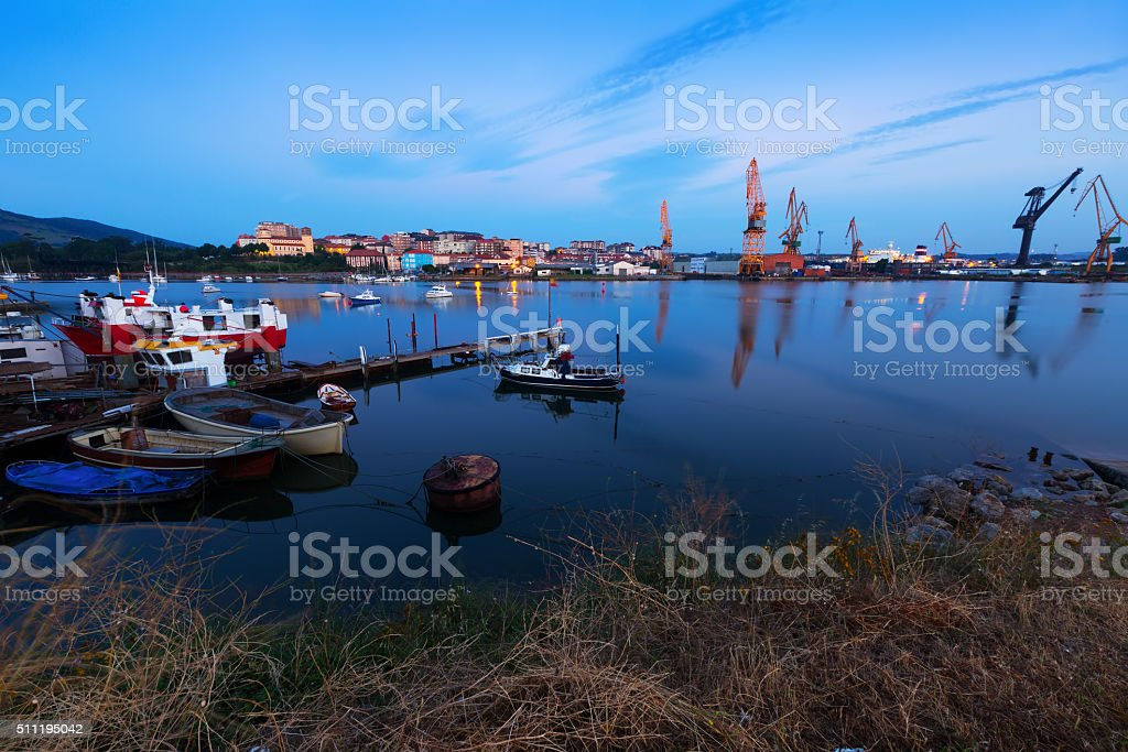 Morning view of Industrial seaport stock photo