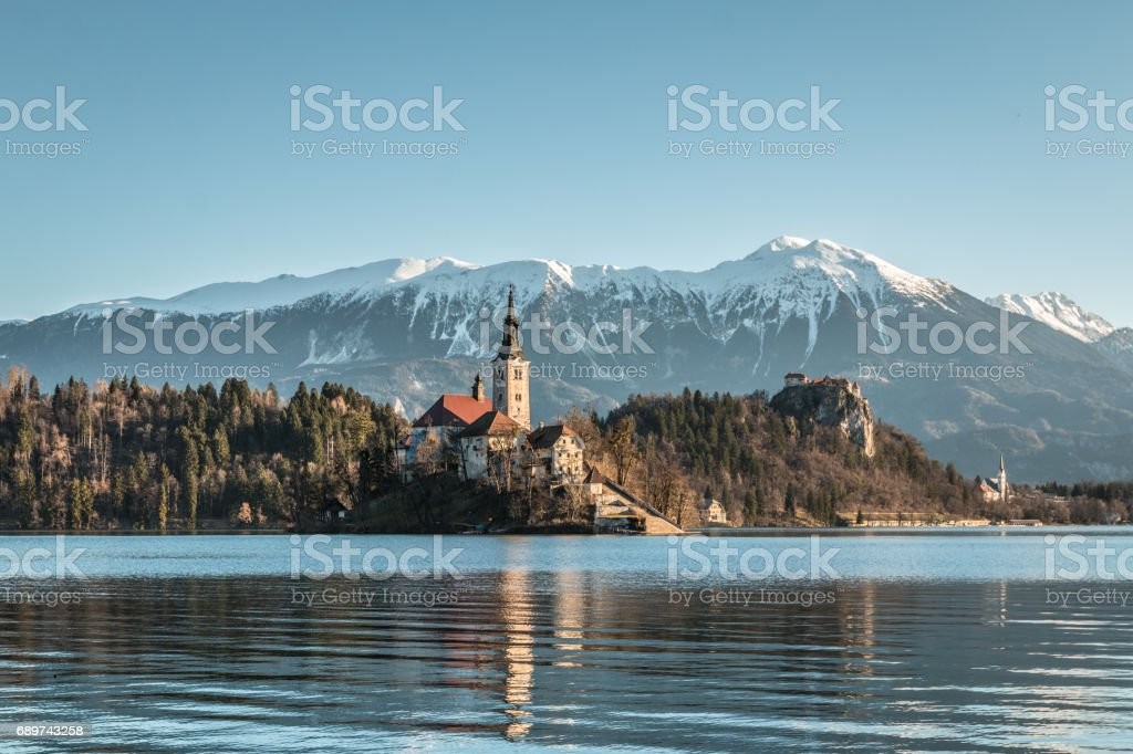 Morning view of Lake Bled stock photo