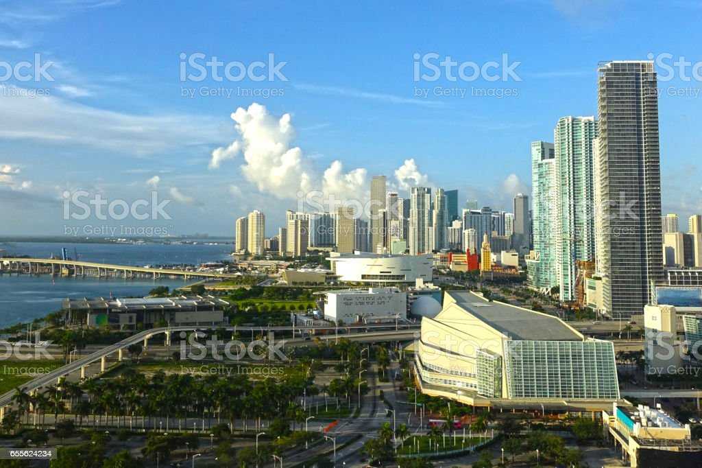 Morning view of Miami skyline stock photo