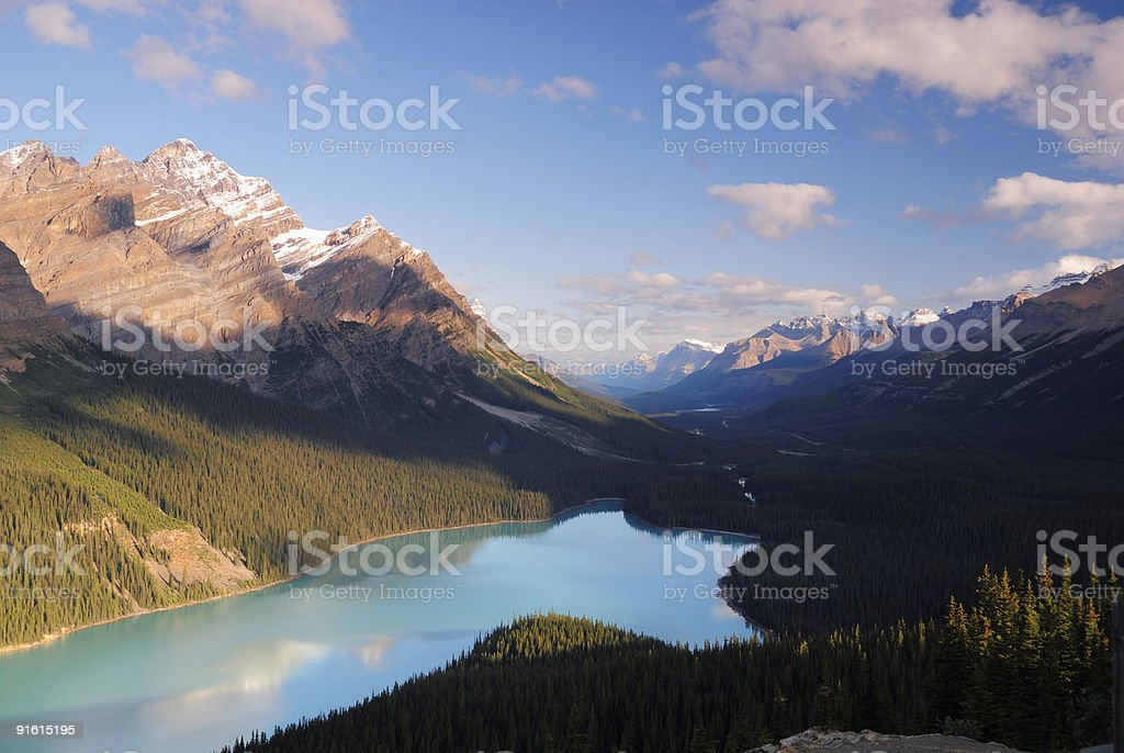 Morning view of Peyto Lake in Canadian Rockies royalty-free stock photo