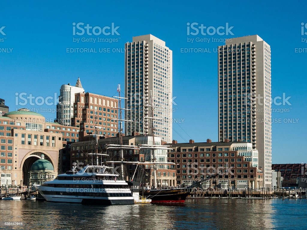 Morning view of Rowes Wharf stock photo
