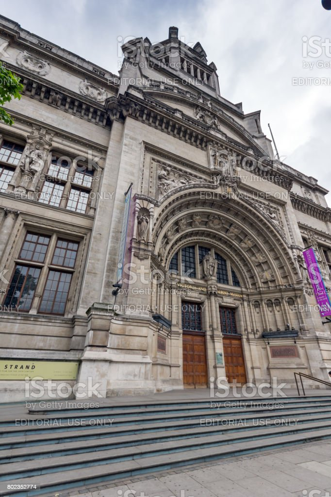 Morning view of Victoria and Albert Museum, London stock photo