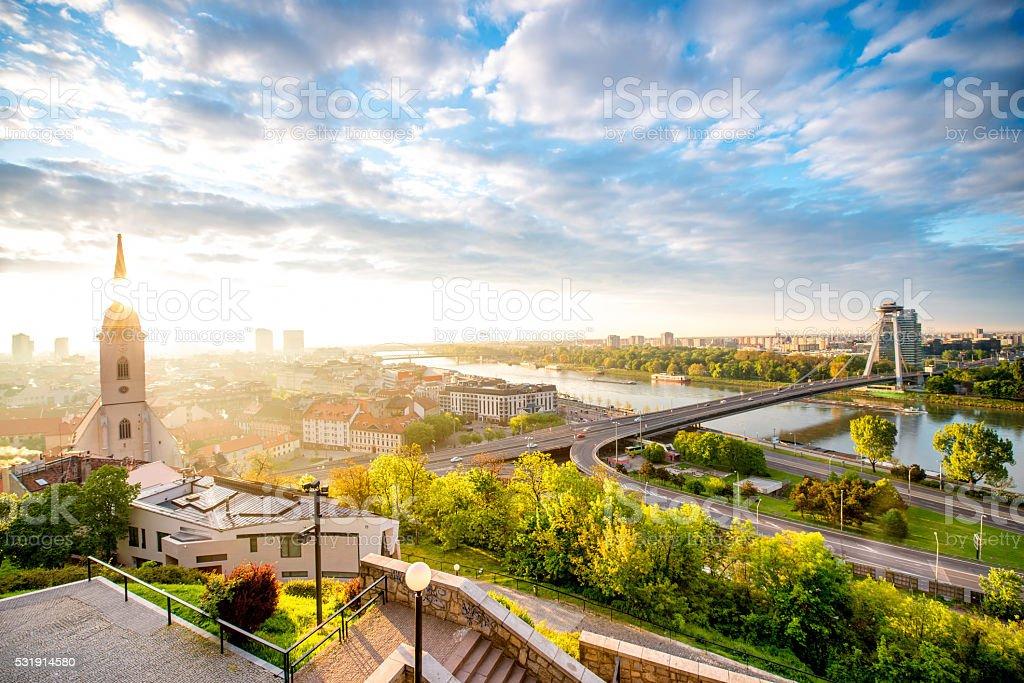 Morning view on Bratislava city stock photo
