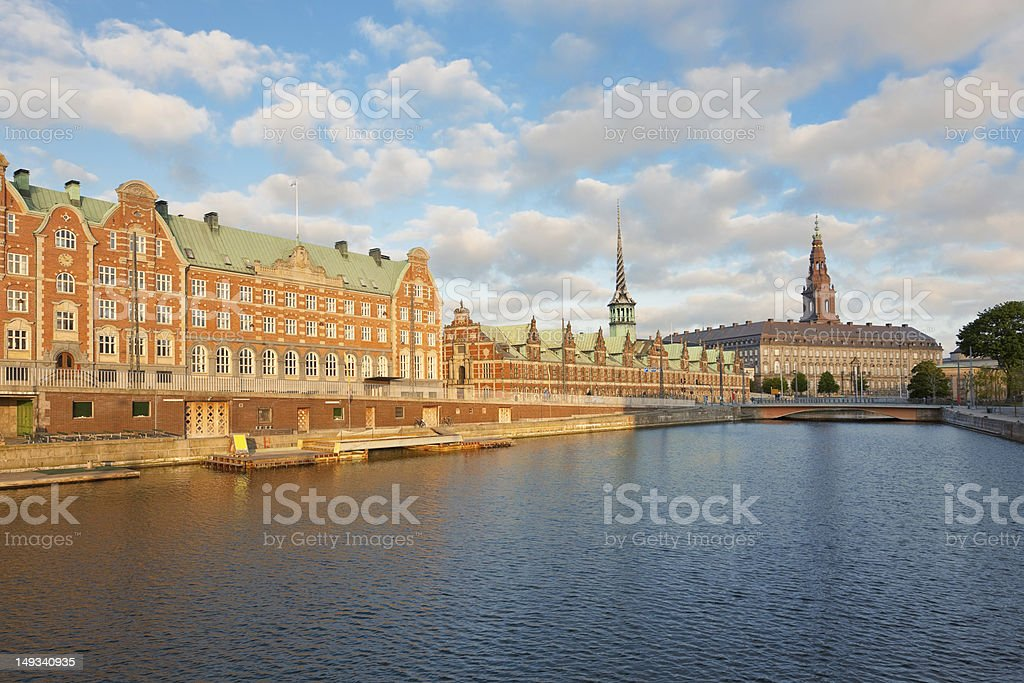 Morning view on Christiansborg Palace in Copenhagen stock photo