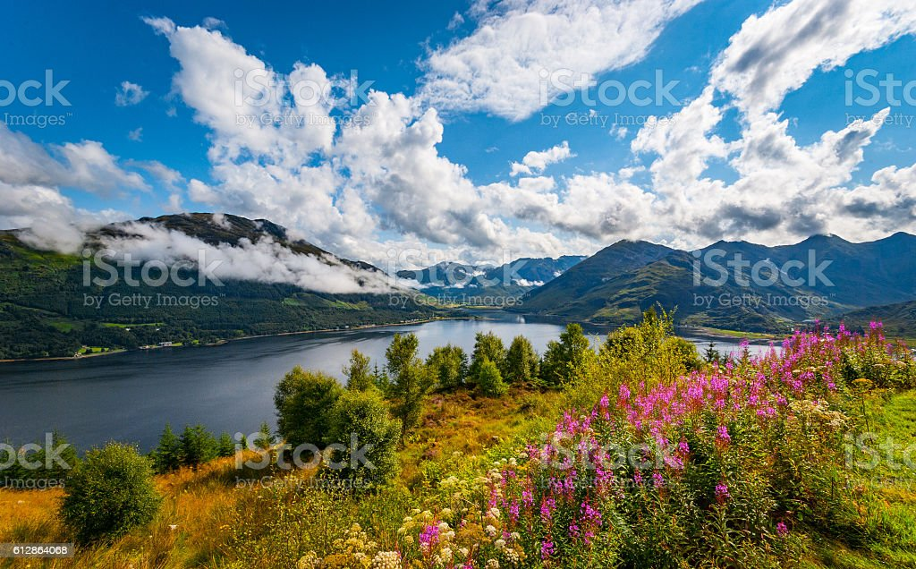 Morning view over Loch Duich stock photo
