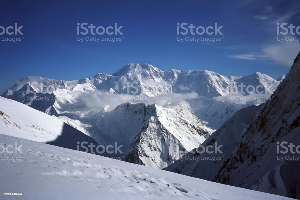Morning view to Pobeda peak 7439m from the Khan Tengri Camp II 5200m. stock photo