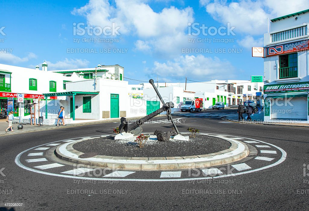 morning view to the new roundabout with ancor and people stock photo