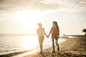 Morning walk at the beach with best friend