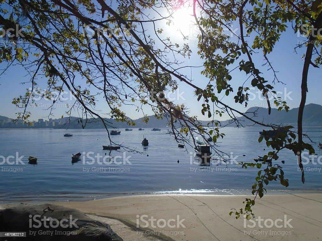 Morning with calm sea - Rio de Janeiro, Brazil stock photo