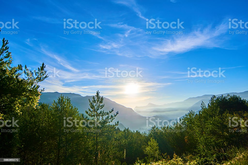 Morning with mist in pyrenees prairie stock photo