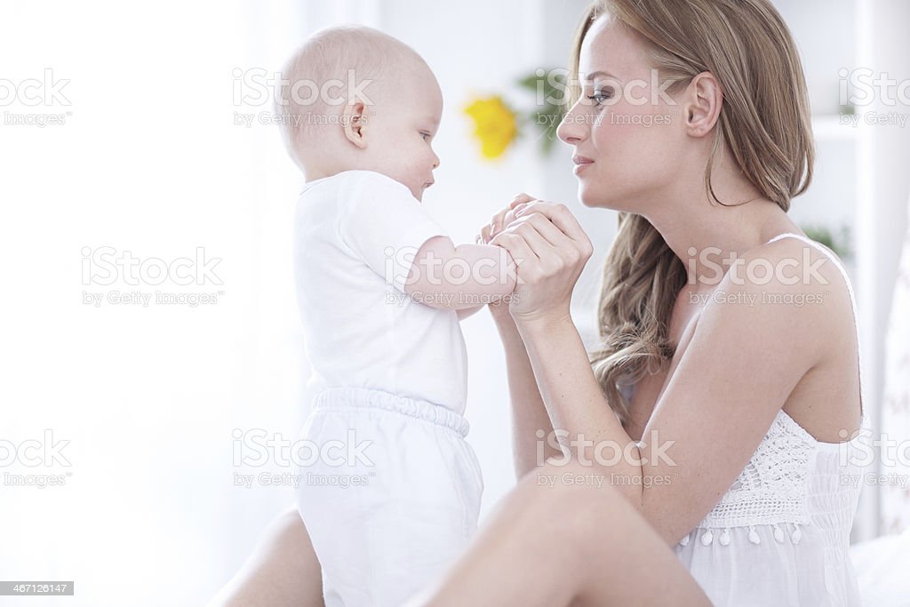 Morning with mommy stock photo