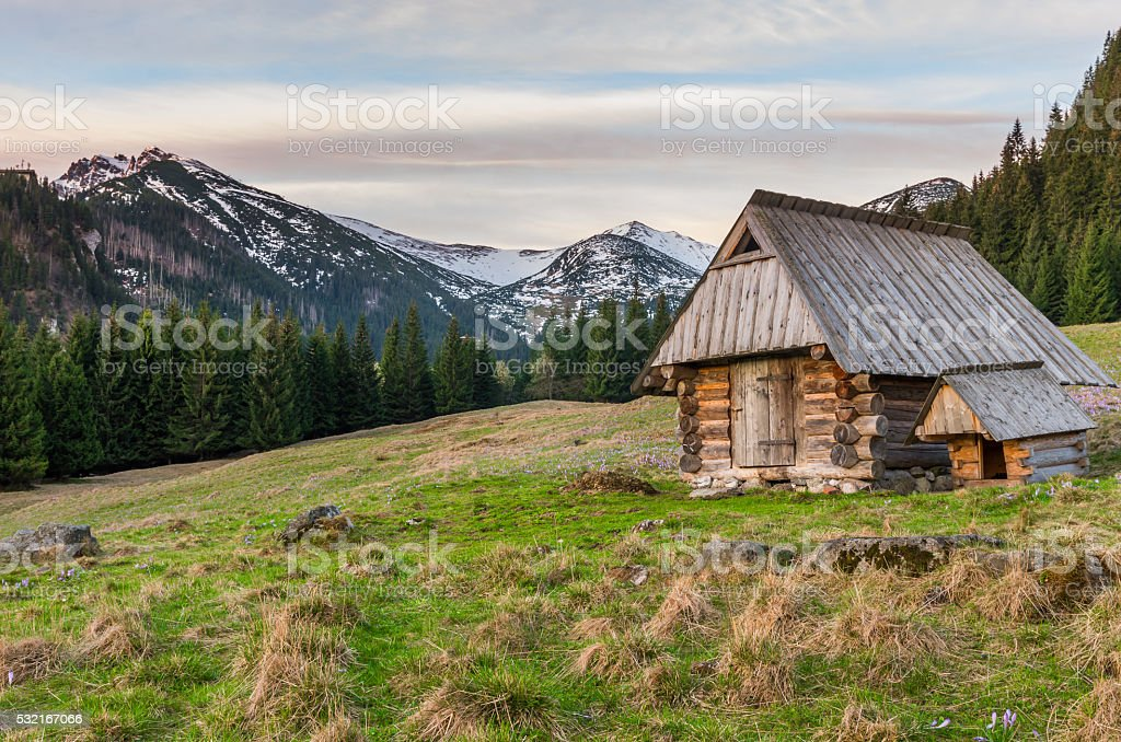 morning with wooden hut in Tatra mountains, Poland stock photo