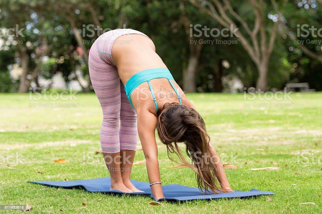 Morning yoga at the park stock photo
