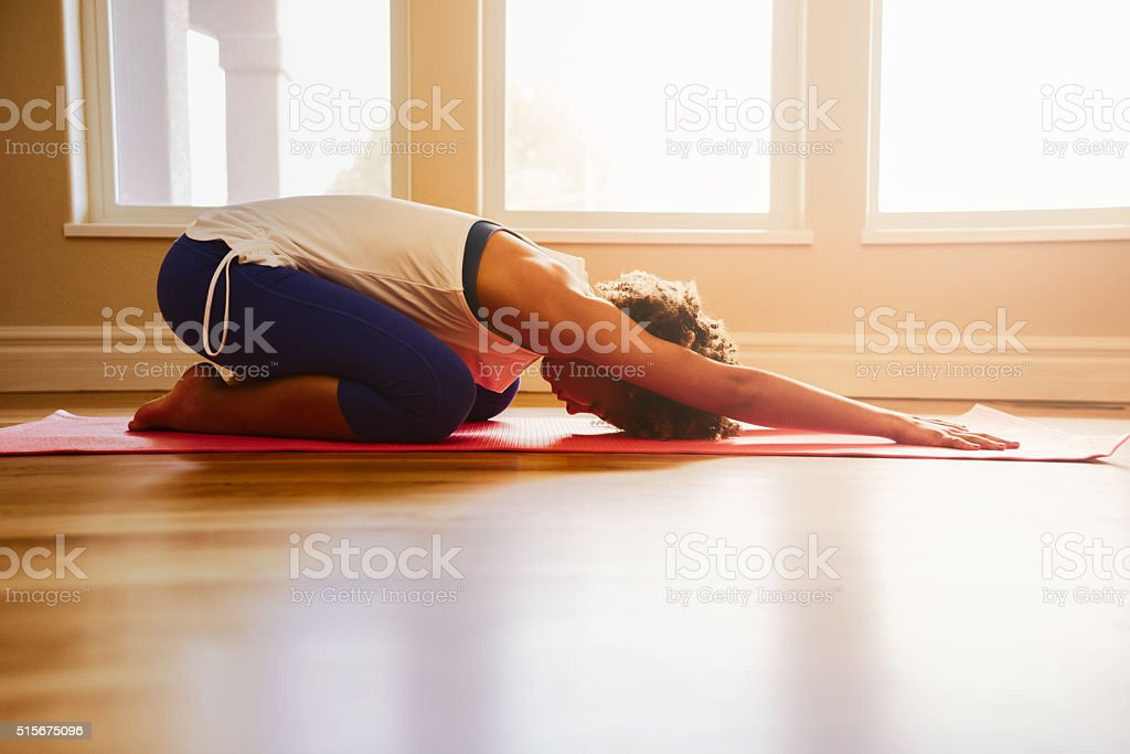 Morning Yoga Child's Pose stock photo