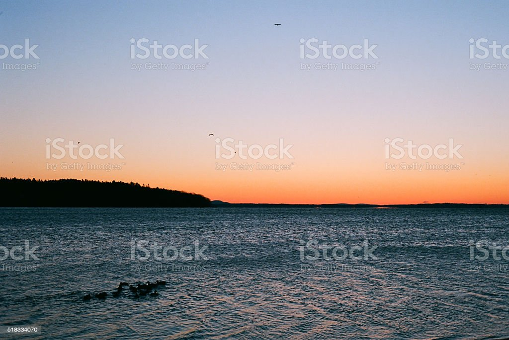 Mornings Light Shines over Downeast Maine, from  Belfast Harbor, stock photo