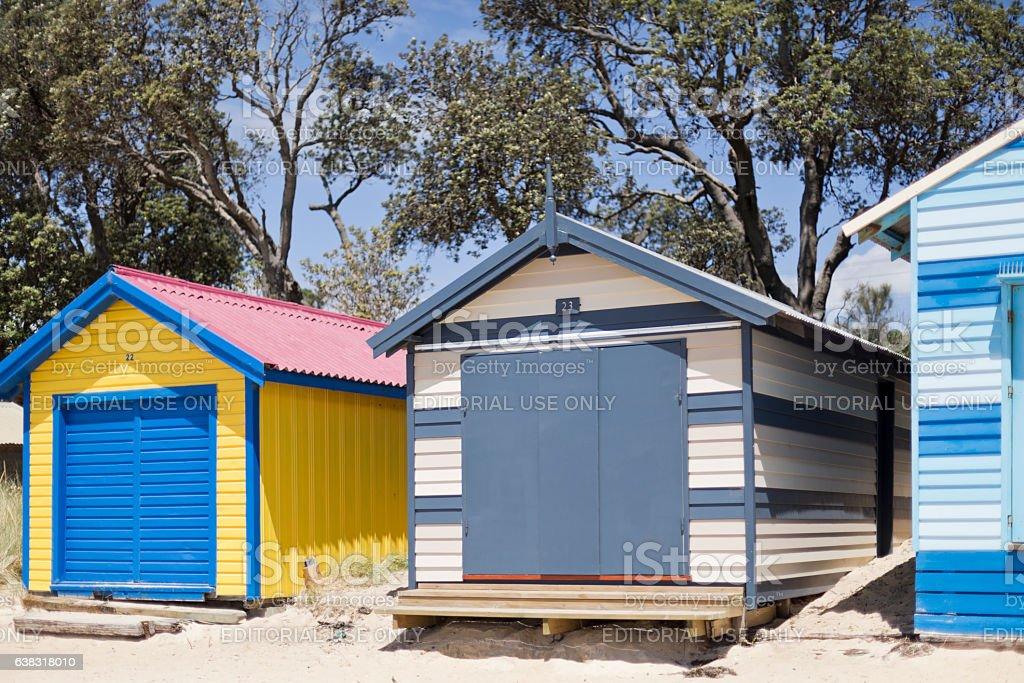 Mornington Peninisula Bathing Boxes stock photo