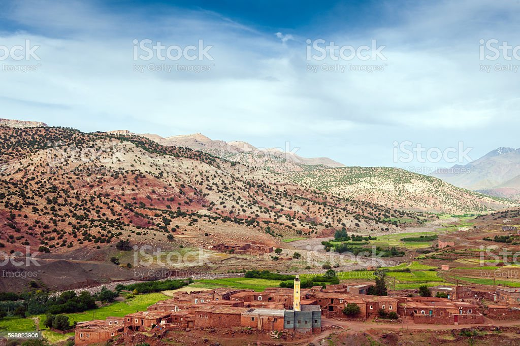 Moroccan Abadou - Village in the Atlas Mountains,Morocco, Africa stock photo