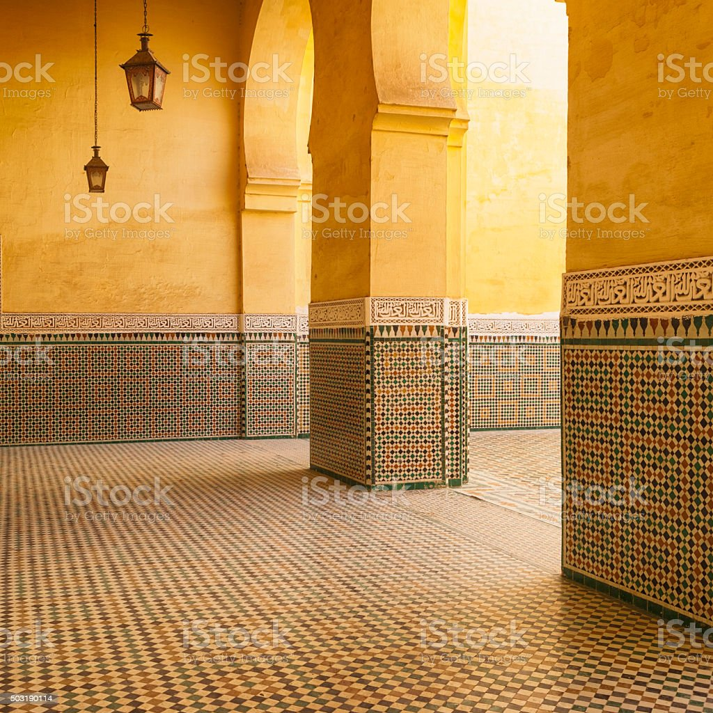 Moroccan Architecture, Tomb of Moulay Ismail, Meknes, Morocco stock photo