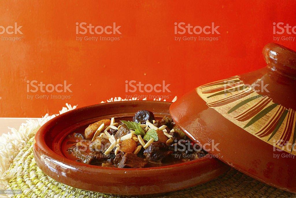 Moroccan beef stew in tajine royalty-free stock photo