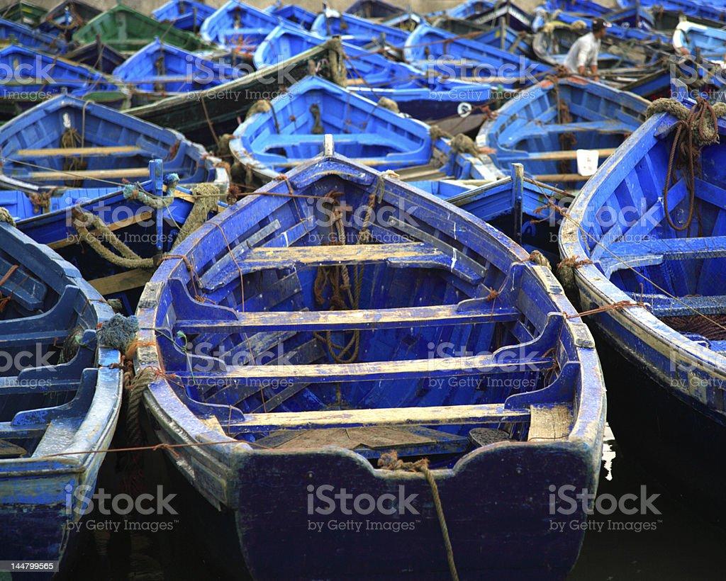 Moroccan blue fishing boats Essaouira Morocco royalty-free stock photo