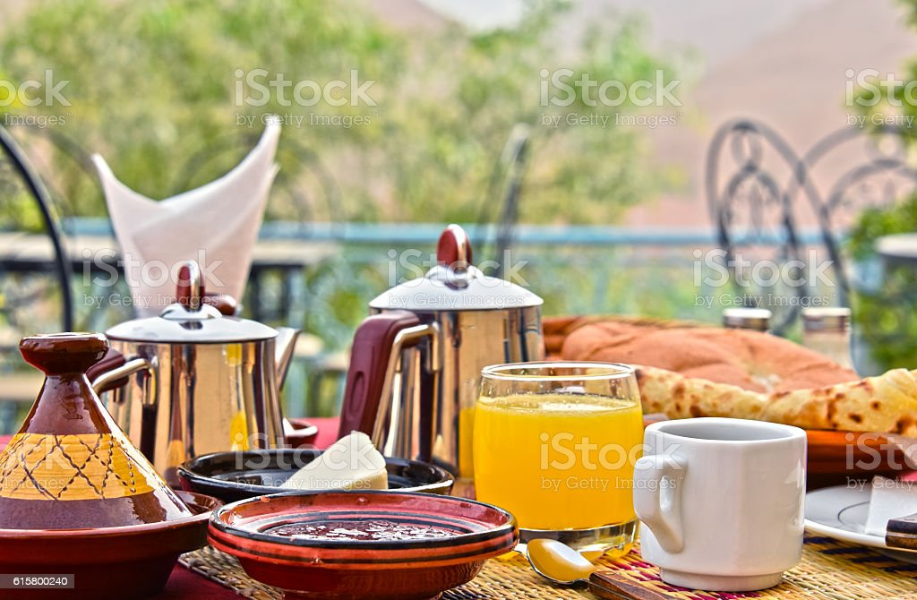 Moroccan breakfast served on hotel terace in Atlas Mountains stock photo
