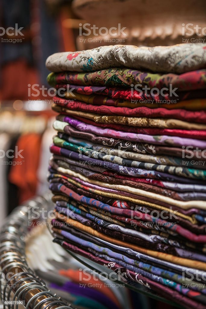 Moroccan bright colorful scarves at a market stock photo