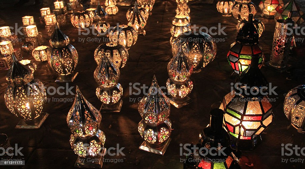 Moroccan candle lights stock photo