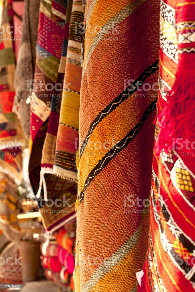 Moroccan Carpets in a street shop souk stock photo