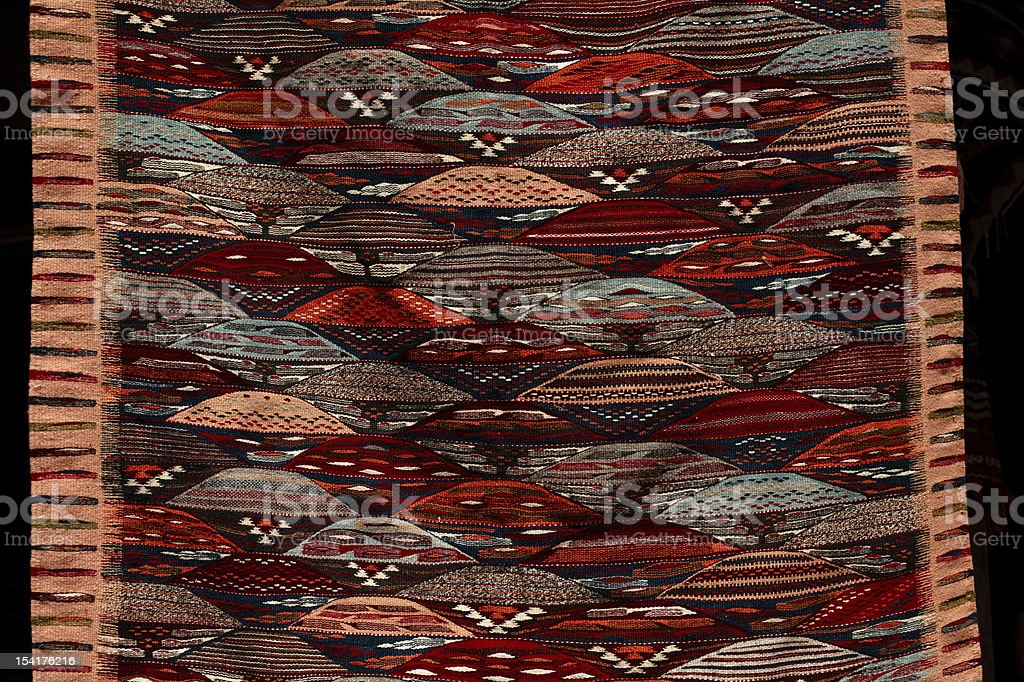 Moroccan Carpets in a street shop souk royalty-free stock photo