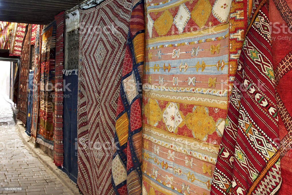 Moroccan carpets on display in the Medina. Fez. Morocco. royalty-free stock photo