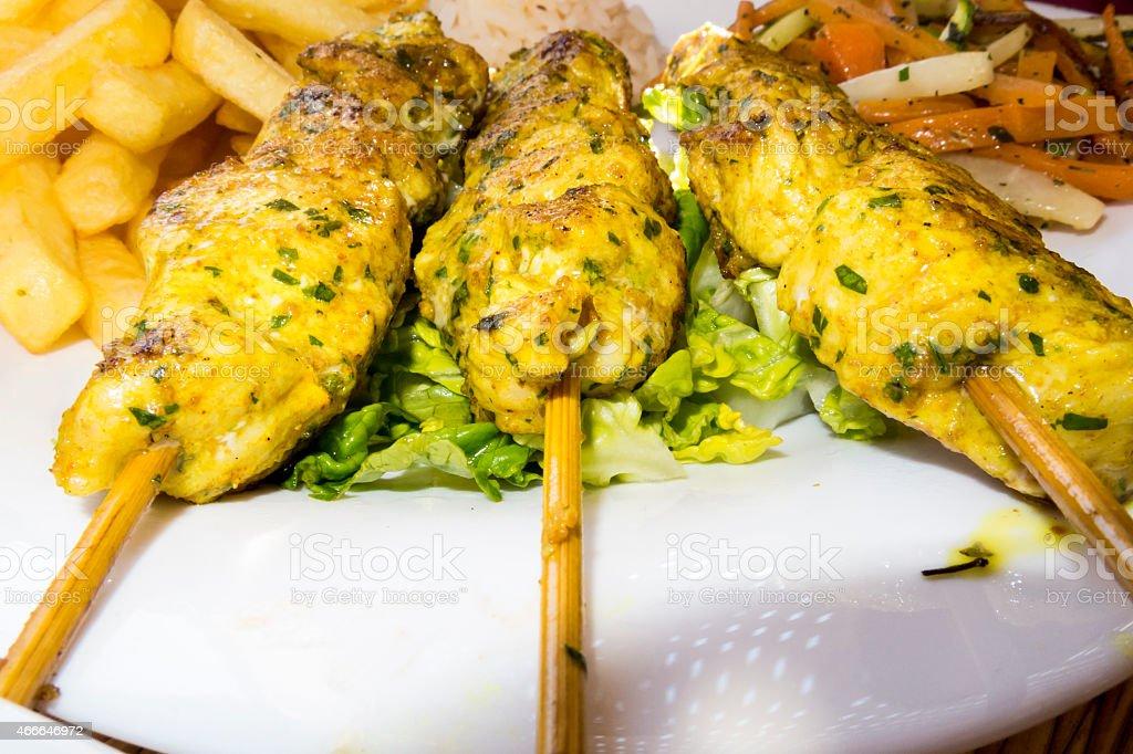 Moroccan Chicken Kebabs stock photo
