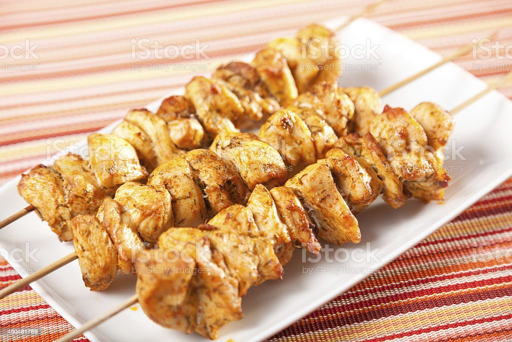 Moroccan chicken skewer royalty-free stock photo
