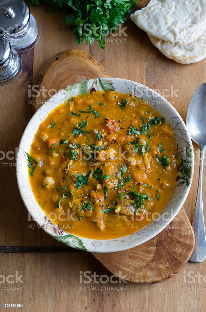 Moroccan chicken soup stock photo