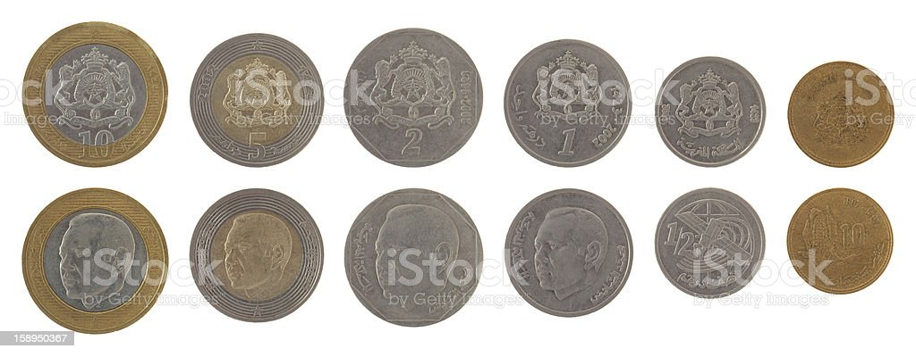 Moroccan Coins Isolated on White royalty-free stock photo