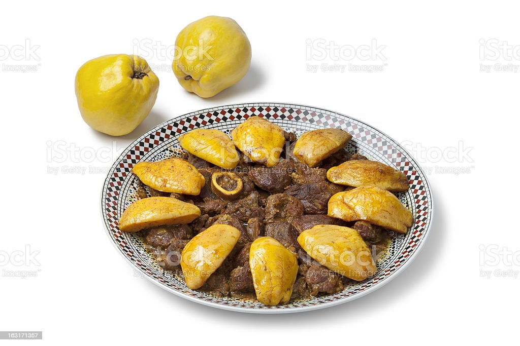Moroccan dish with meat and Safarjal royalty-free stock photo