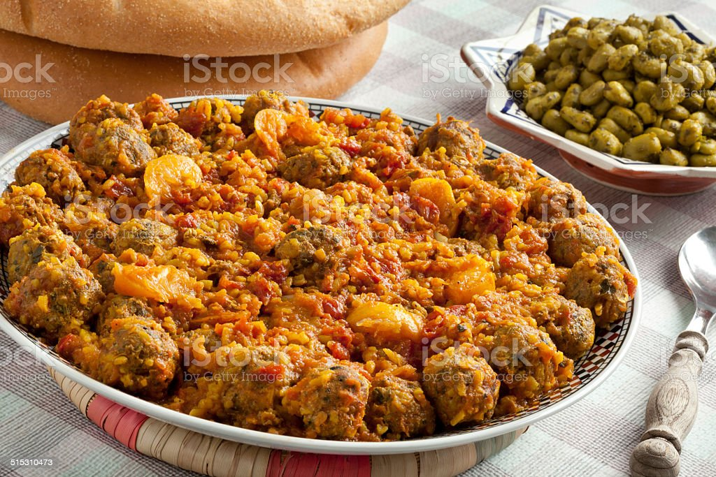 Moroccan dish with sardines mince stock photo