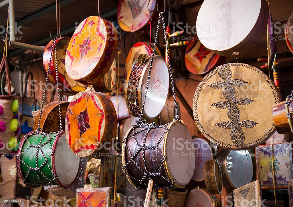 Moroccan drums souvenirs stock photo