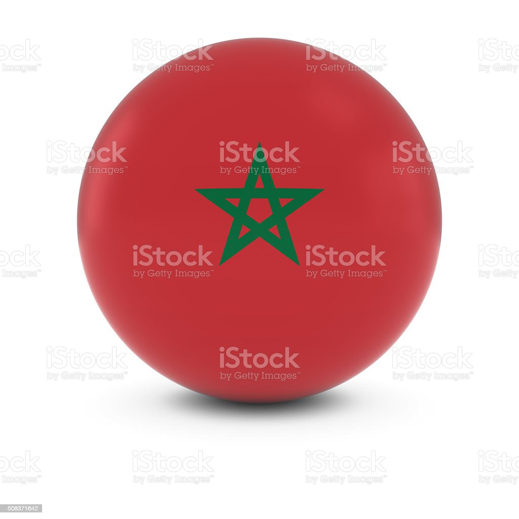 Moroccan Flag Ball - Flag of Morocco on Isolated Sphere stock photo