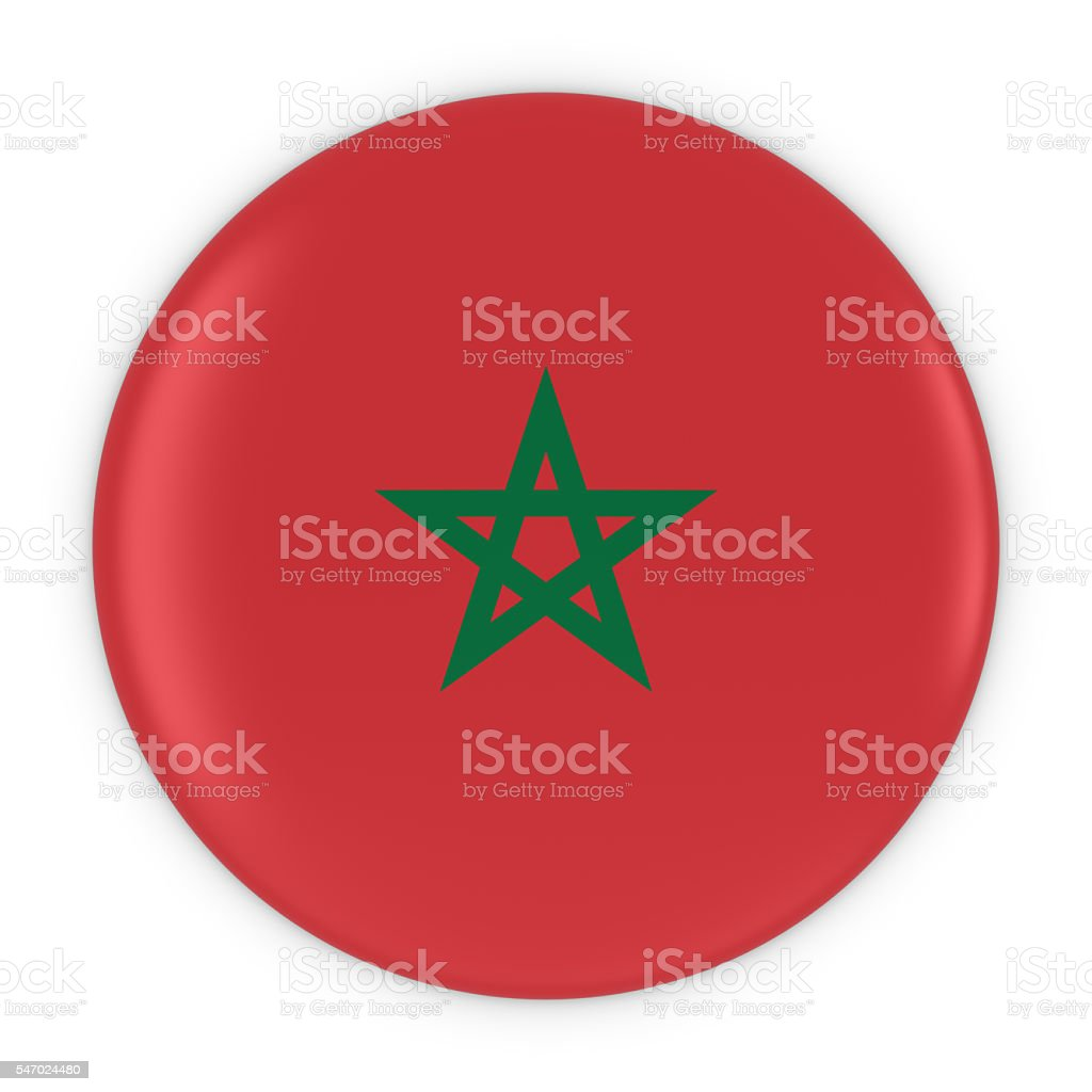 Moroccan Flag Button - Flag of Morocco Badge 3D Illustration stock photo