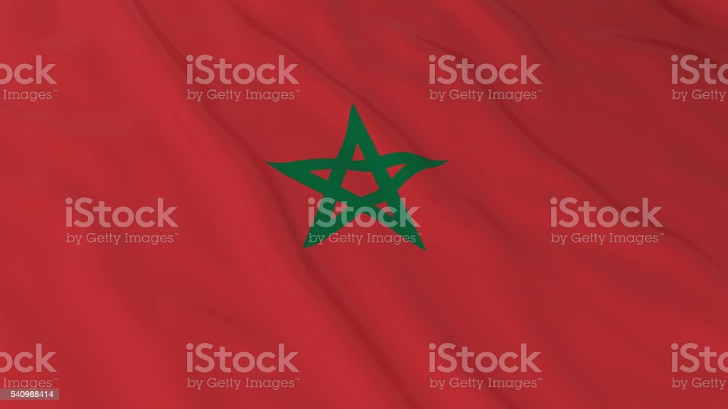 Moroccan Flag HD Background - Flag of Morocco 3D Illustration stock photo