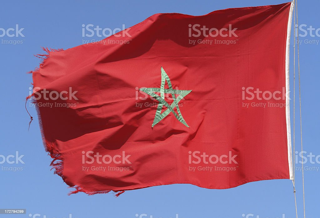 Moroccan Flag in the Wind stock photo