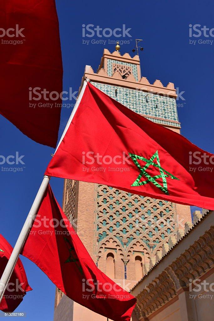 Moroccan flag, Marrakech. stock photo