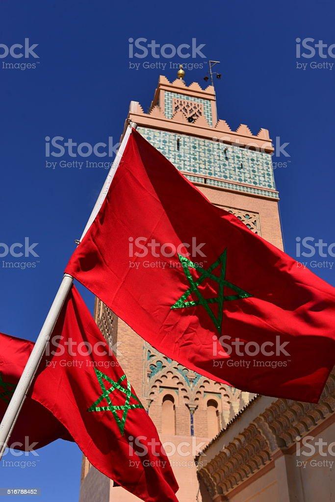Moroccan flag,Marrakech, Morocco, Africa. stock photo