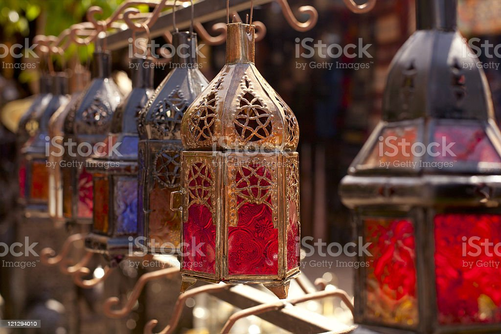 Moroccan glass and metal lanterns lamps in Marrakesh souk stock photo