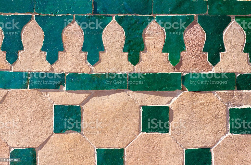 Moroccan Green and Off-White Tile Inlay (Close-Up) stock photo