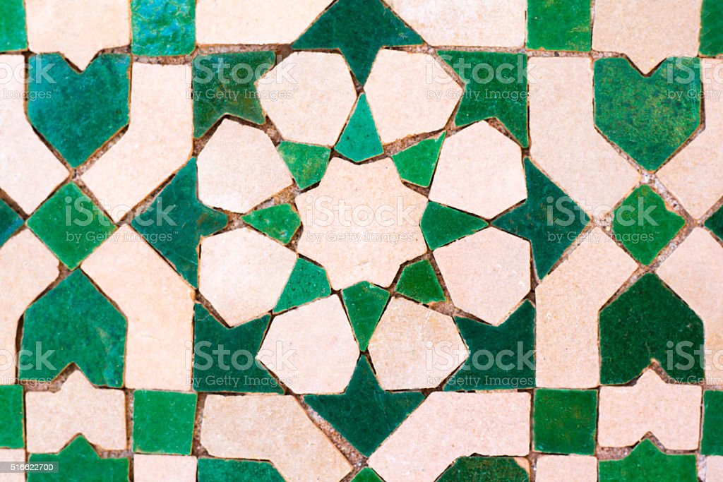 Moroccan Green and White Tile Inlay (Close-Up) stock photo