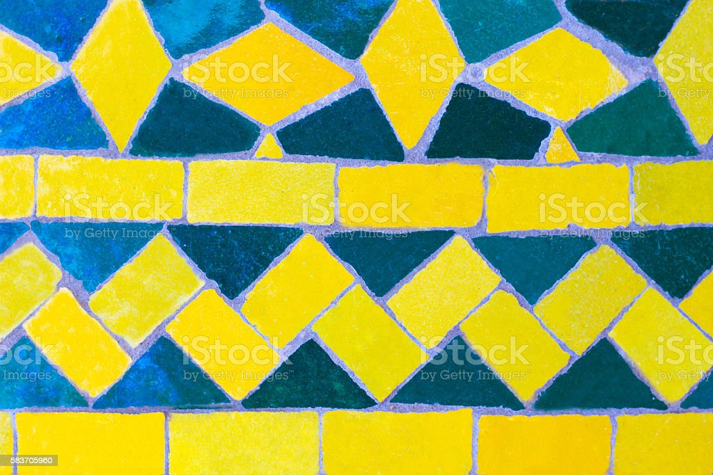 Moroccan Green and Yellow Tile Inlay (Close-Up) stock photo
